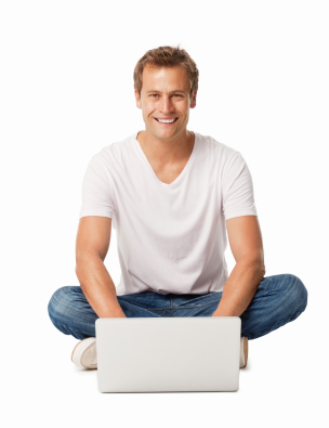 Portrait of a mid adult man sitting comfortably on floor with cross legged working on laptop. Vertical shot. Isolated on white.